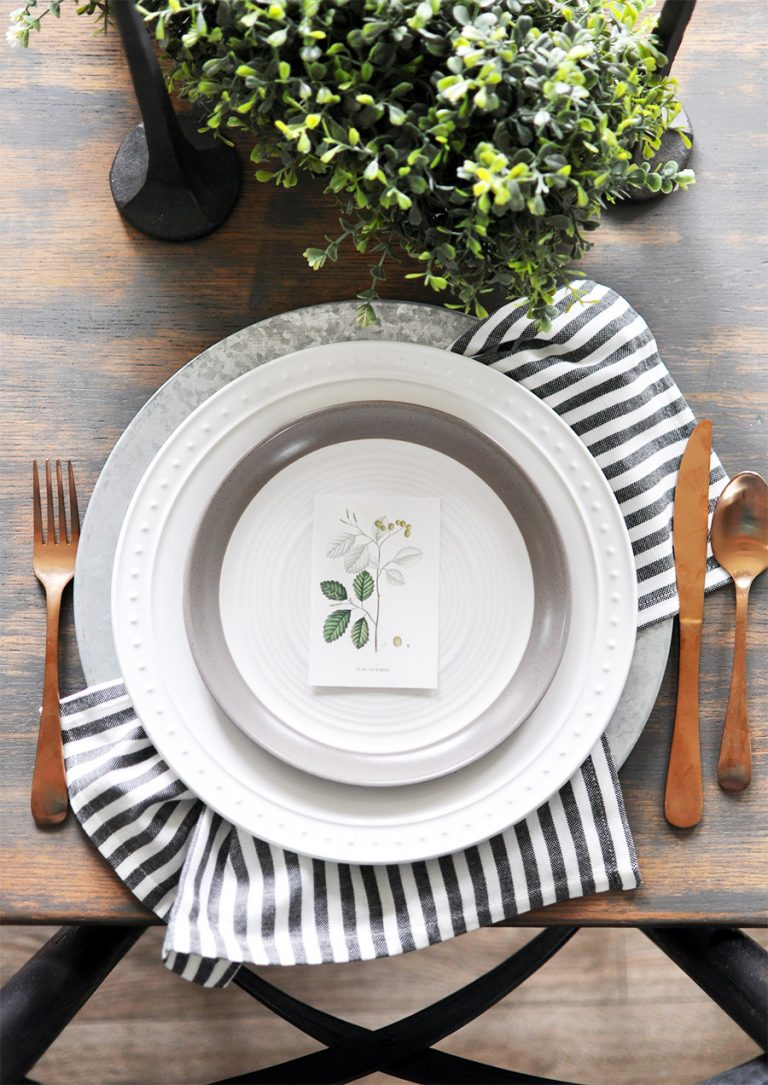 Thanksgiving Place Setting Ideas - Fall Botanical Printables by Cherished Bliss