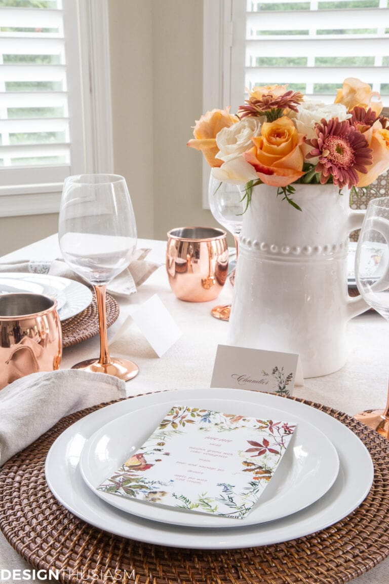 Thanksgiving Place Setting Ideas - Fall Printables by Designthusiasm