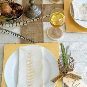 Thanksgiving Place Setting Ideas - Natural Elements and Metallic Thanksgiving Table Setting by Home Stories A to Z