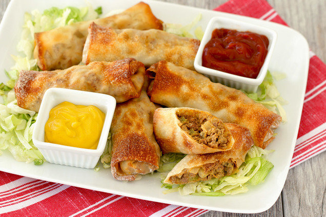 100+ Appetizer Ideas - Air Fryer Recipes - Air Fryer Cheeseburger Egg Roll Recipe by Hungry Girl
