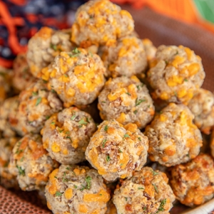100+ Appetizer Ideas - Bacon Ranch Sausage Balls by Plain Chicken