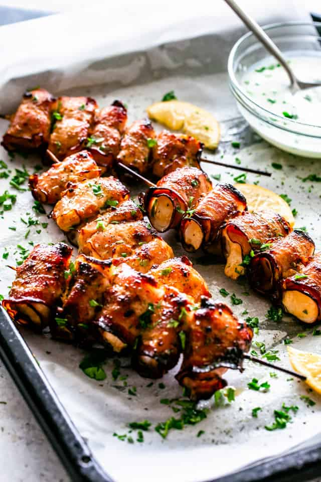 100+ Appetizer Ideas - Bacon Wrapped Chicken Skewers by Diethood