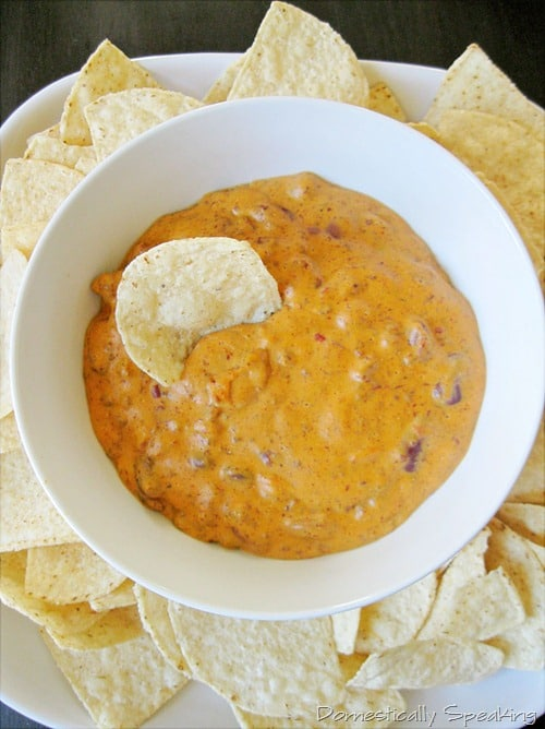 100+ Appetizer Ideas - Chili Cheese Dip by Domestically Speaking