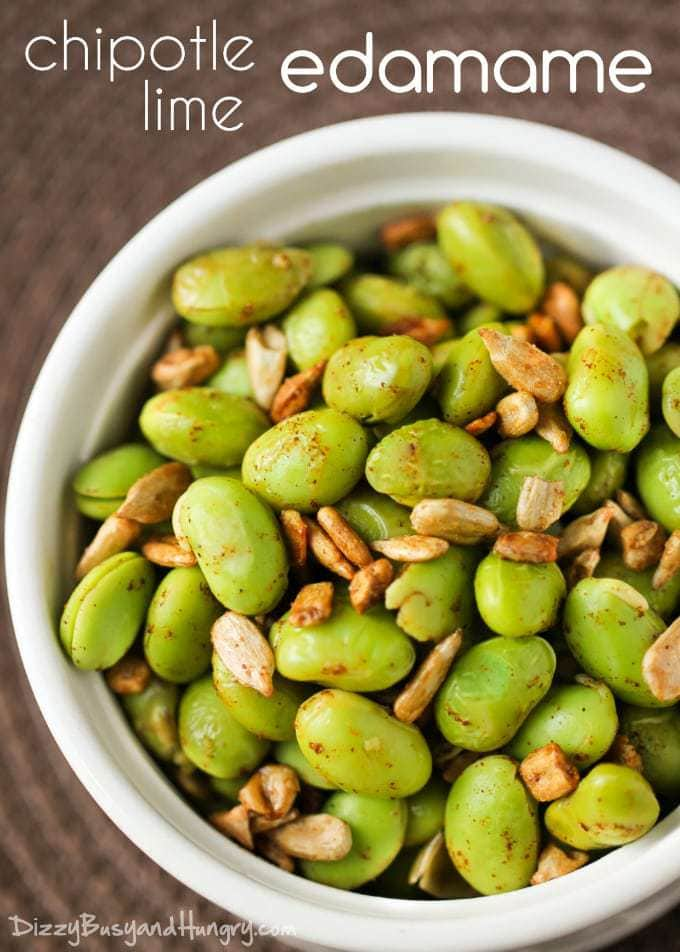 100+ Appetizer Ideas - Chipotle Lime Edamame by Dizzy Busy and Hungry