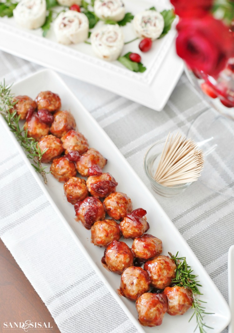 100+ Appetizer Ideas - Cranberry Orange Meatballs by Sand & Sisal