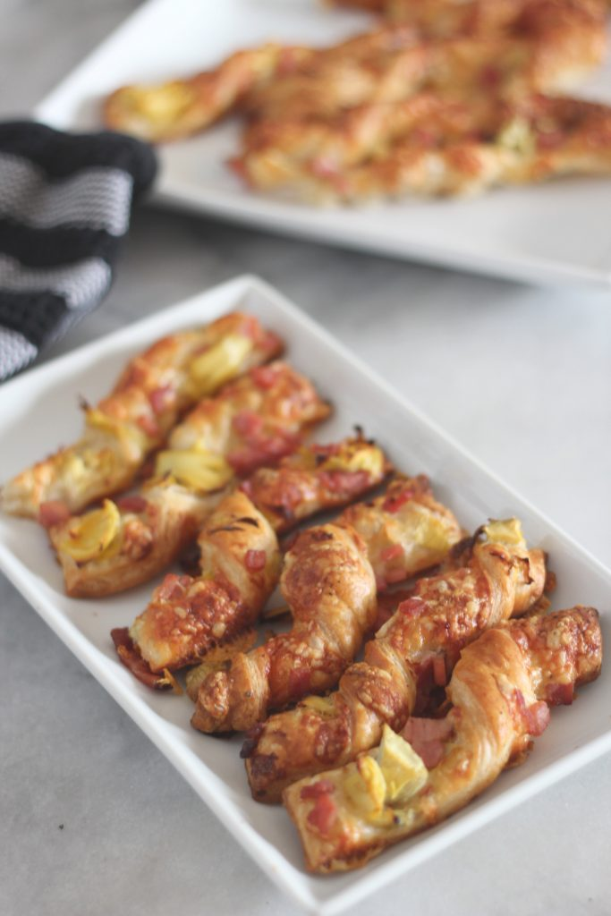 100+ Appetizer Ideas - Ham Gruyere and Artichoke Pastry Twists by Sparkle Living Blog