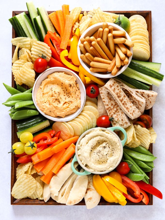 100+ Appetizer Ideas - Hummus Platter by Taming Twins