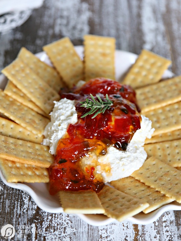100+ Appetizer Ideas - Pepper Jelly Cream Cheese Party Dip by Today's Creative Life