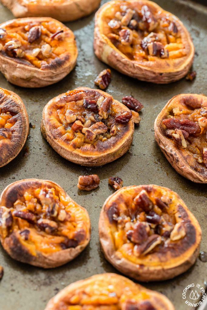100+ Appetizer Ideas - Smashed Sweet Potatoes by Cooking on the Front Burners
