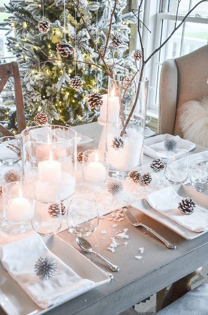 Christmas Centerpiece Ideas - Christmas Candlelight Table by Stone Gable Blog