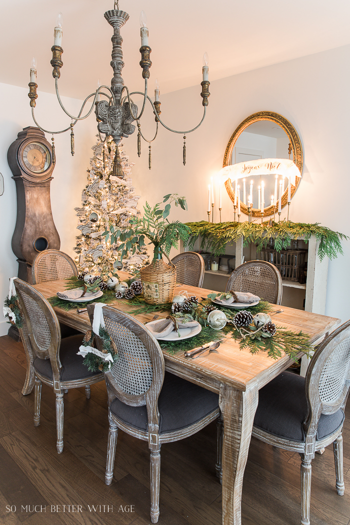 Christmas Centerpiece Ideas - French Christmas Dining Room by So Much Better With Age