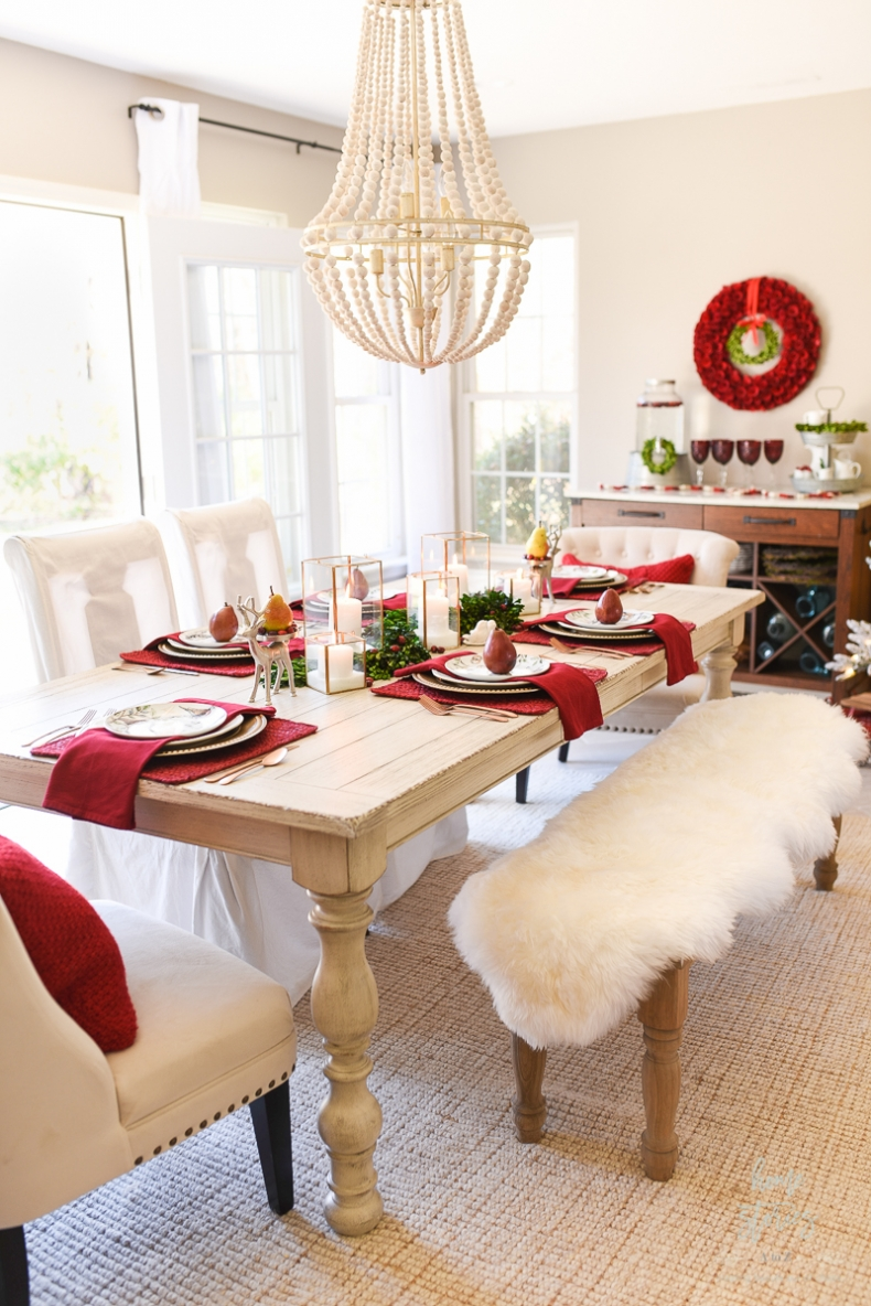 Christmas Centerpiece Ideas - Informal Christmas Table by Home Stories A to Z