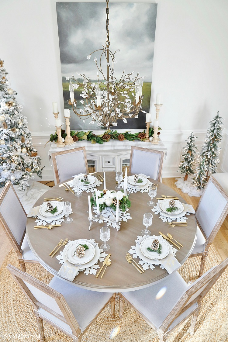 Christmas Centerpiece Ideas - Natural Rustic Glam Christmas Dining Room by Sand & Sisal