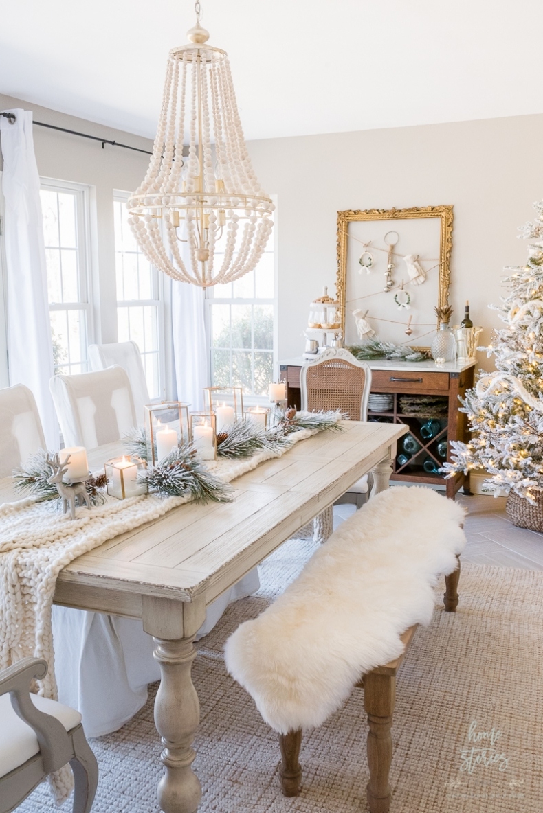 Christmas Centerpiece Ideas - Winter White Christmas Table by Home Stories A to Z