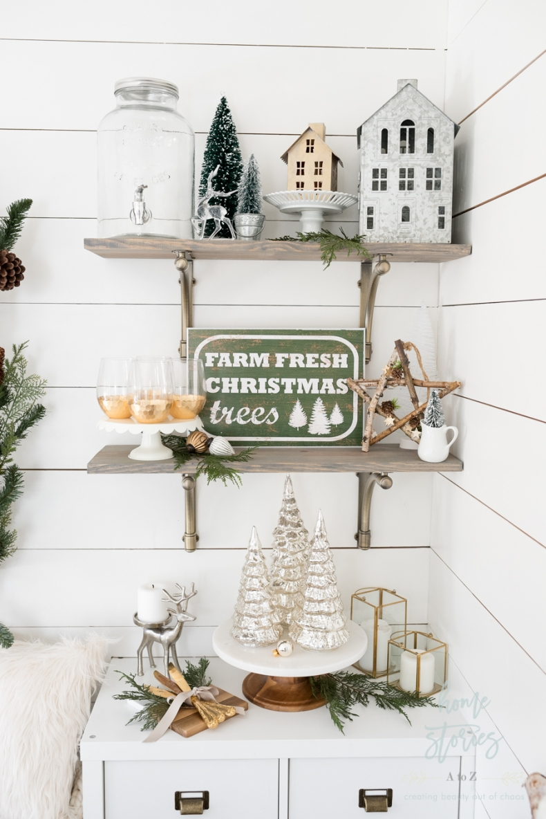 Christmas Vignette Ideas - Christmas Shelf Styling by Home Stories A to Z