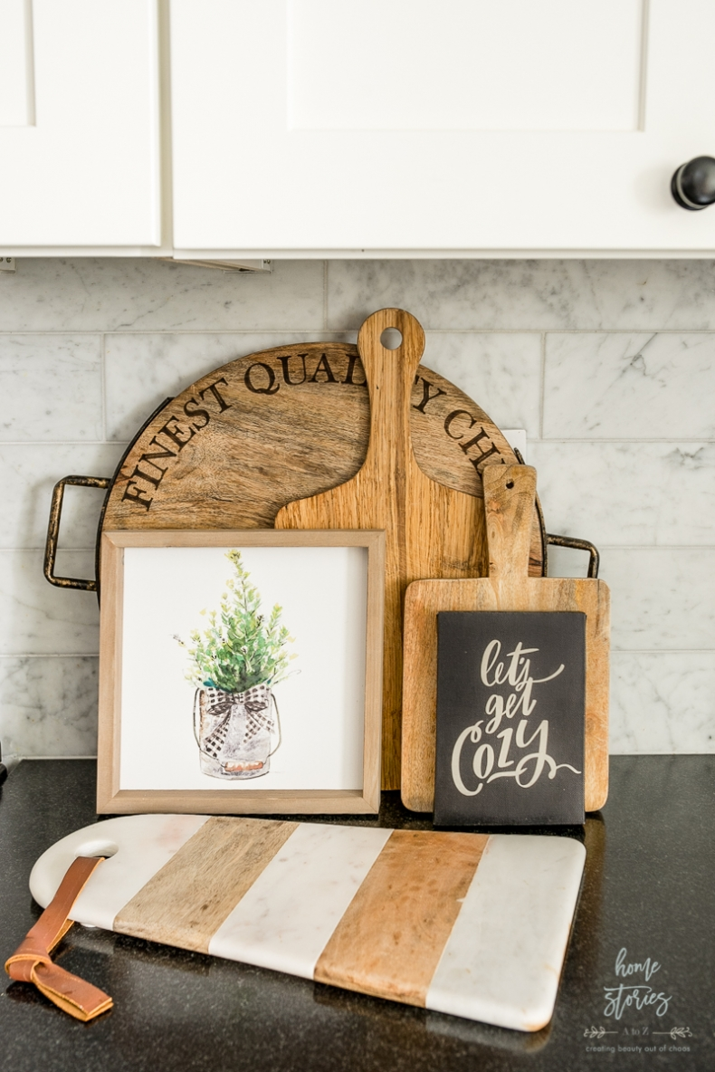 Christmas Vignette Ideas - Kitchen Cutting Board Vignette by Home Stories A to Z