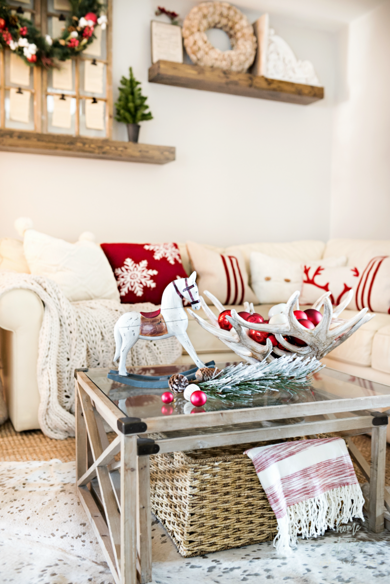 Simple Christmas Vignette Ideas - Christmas Coffee Table Ideas by Home Stories A to Z