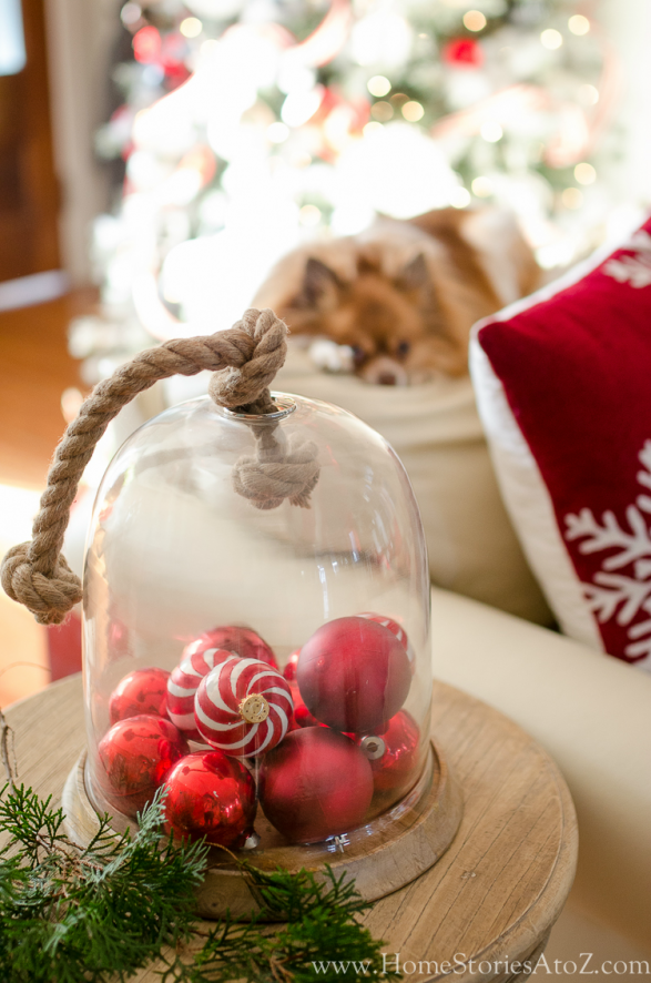 Simple Christmas Vignette Ideas - Christmas Ornaments Vignette by Home Stories A to Z