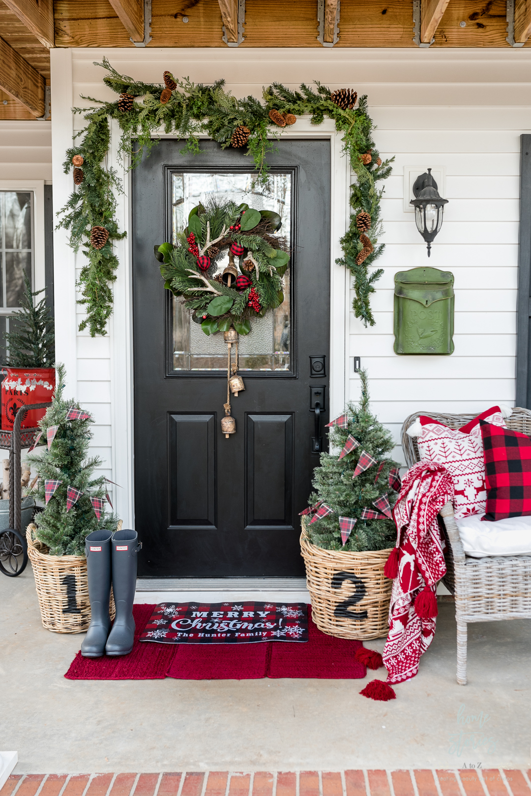 Rustic Luxe Buffalo Check Christmas Porch