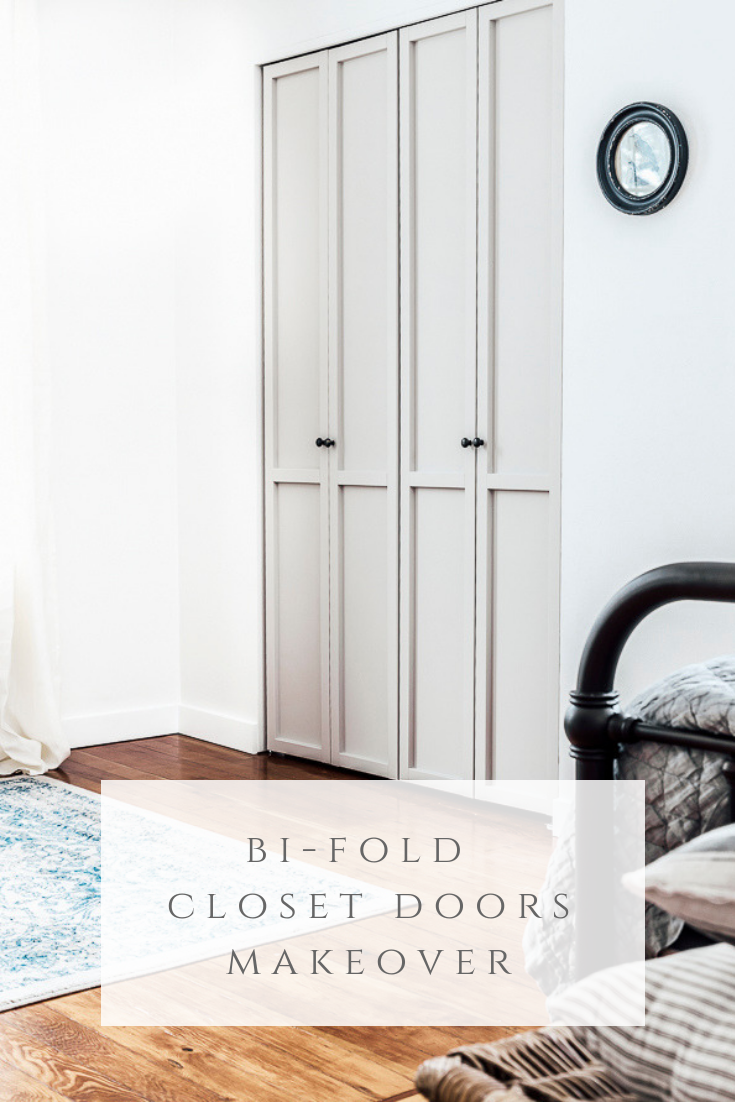 Flat Panel Door Makeover Ideas - Bi Fold Closet Doors Makeover by She Holds Dearly