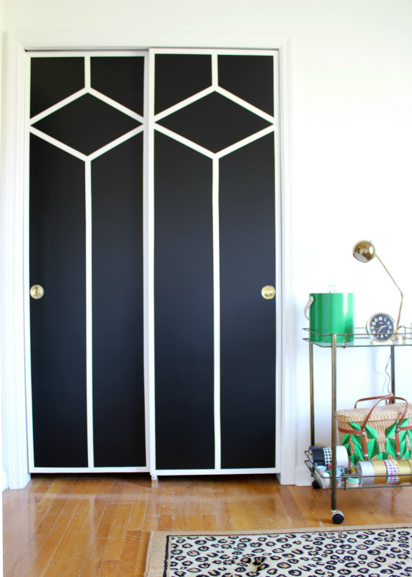 Flat Panel Door Makeover Ideas - DIY Painted and Patterned Doors AFTER by Rain on a Tin Roof