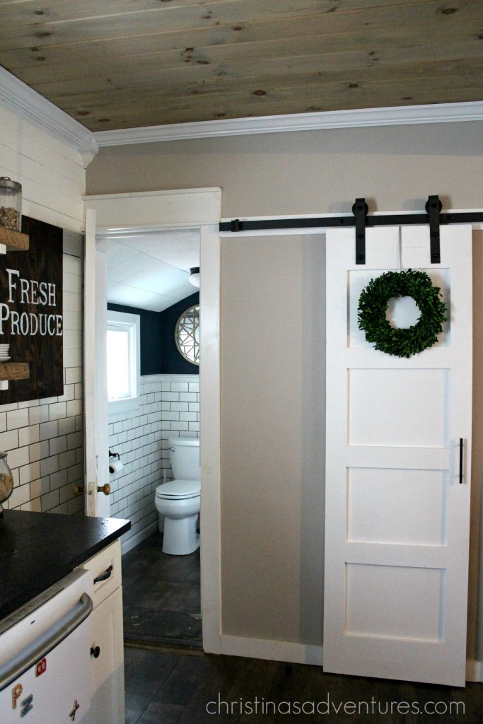 Flat Panel Door Makeover Ideas - DIY Sliding Barn Door by Christina Maria Blog