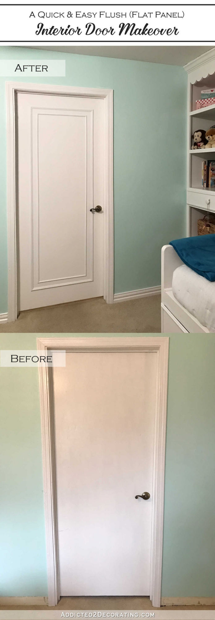 Flat Panel Door Makeover Ideas - Inexpensive Door Makeover by Addicted 2 Decorating