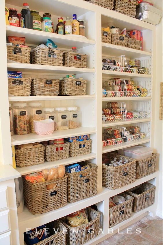 Ways to Declutter your Home with Baskets - Pantry Organization by Eleven Gables