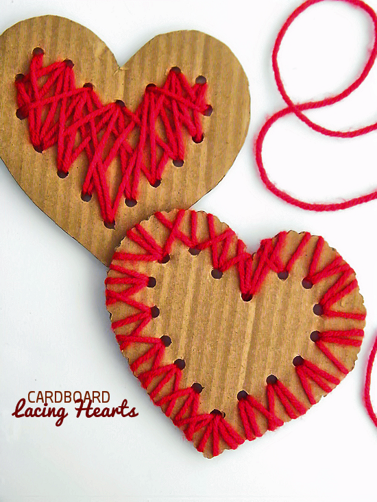 25 Valentine Heart Crafts - Cardboard Lacing Hearts by Our Kid Things
