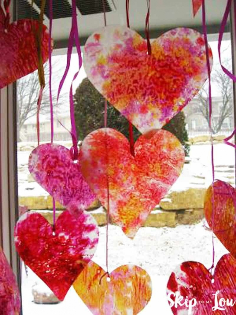 25 Valentine Heart Crafts - Crayon Shaving Hearts by Skip to My Lou