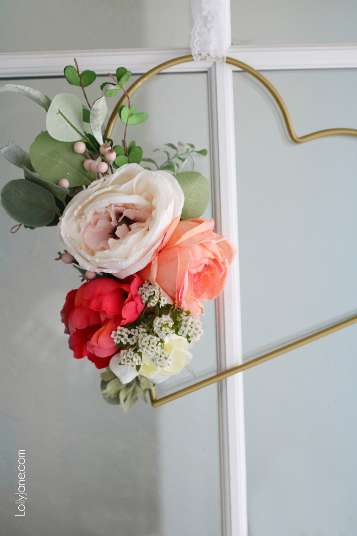25 Valentine Heart Crafts - DIY Floral Metal Heart Wreath by Lolly Jane