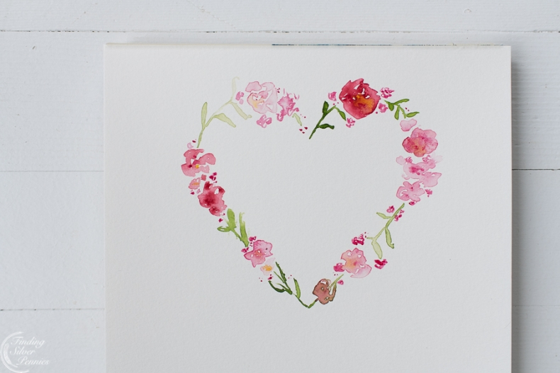 25 Valentine Heart Crafts - Free Watercolor Valentine Heart Printable by Finding Silver Pennies