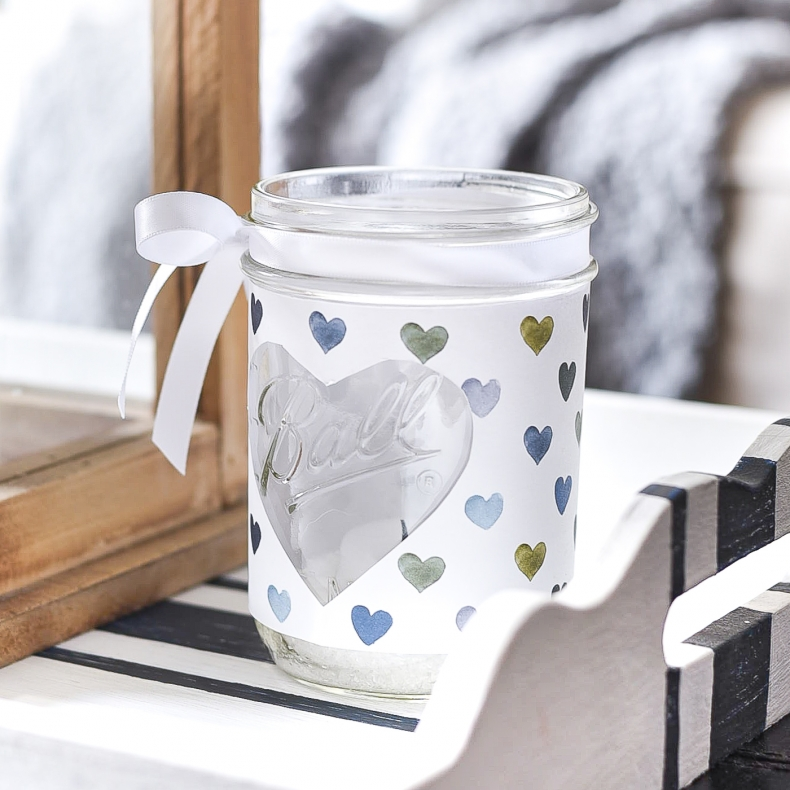25 Valentine Heart Crafts - Heart Mason Jar Craft by It All Started With Paint