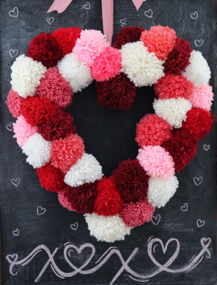 25 Valentine Heart Crafts - How to Make a Heart Shaped Wreath by Fynes Designs