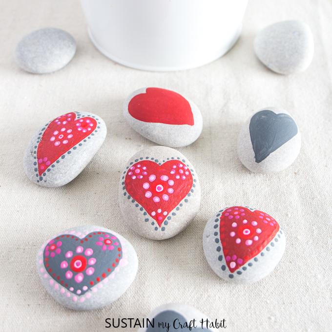 25 Valentine Heart Crafts - Painting Rocks by Sustain My Craft Habit