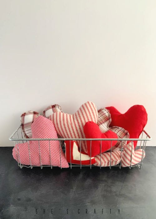25 Valentine Heart Crafts - Stuffed Hearts by She's Crafty