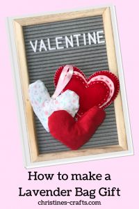 25 Valentine Heart Crafts - Stuffed Lavender Heart Bags by Christine's Crafts