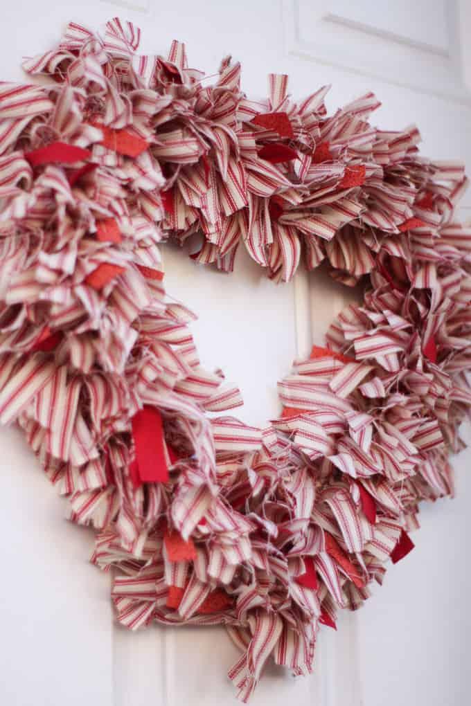 25 Valentine Heart Crafts - Ticking Stripe Fabric Heart Wreath by My Wee Abode