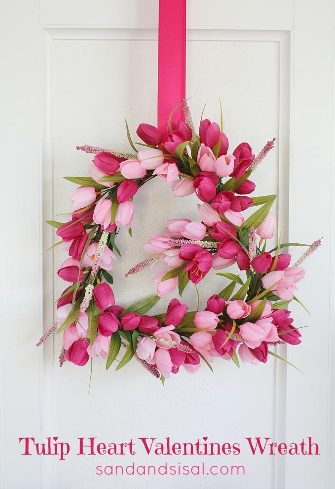 25 Valentine Heart Crafts - Tulip Heart Valentine's Wreath by Sand & Sisal