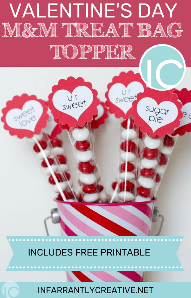 Valentine Printable Ideas - Candy Valentine's Day Topper by Infarrantly Creative