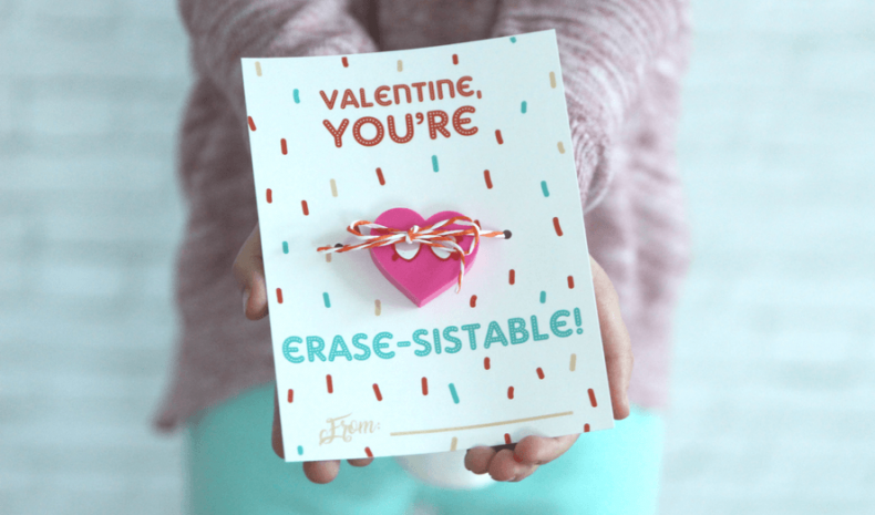 Valentine Printable Ideas - Eraser Valentine Card by What Moms Love