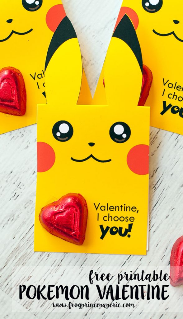 Valentine Printable Ideas - Pokemon Valentine by Frog Prince Paperie