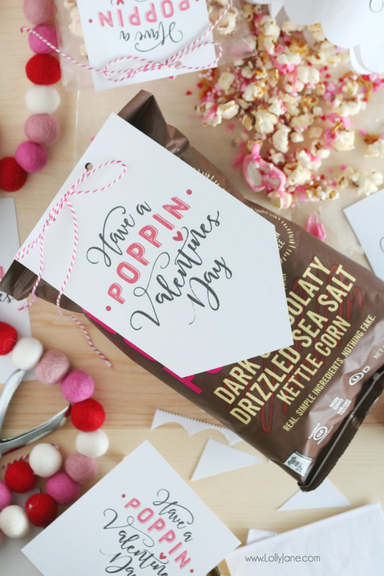 Valentine Printable Ideas - Popcorn Valentine's Day Printable by Lolly Jane