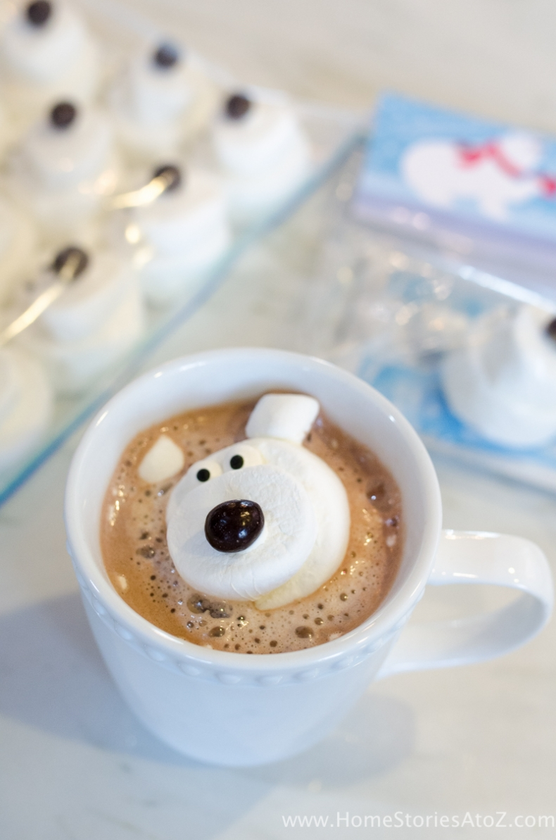 Valentine Treat Ideas - Polar Bear Marshmallow Hot Chocolate Valentine Treat by Home Stories A to Z