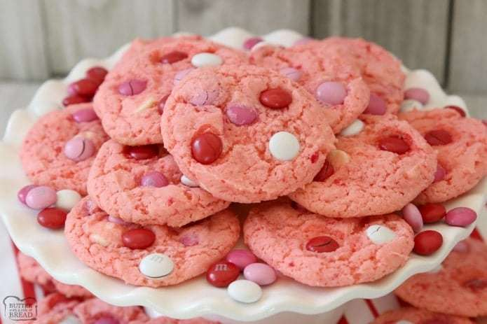 Valentine Treat Ideas - Strawberry Cake Mix Cookies by Butter with a Side of Bread