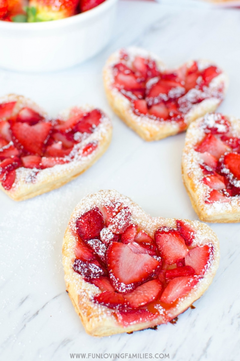 Valentine Treat Ideas - Valentine Puffy Pastry Strawberry Hearts by Fun Loving Families