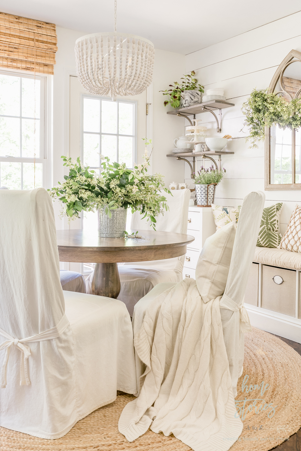 Spring Decor Ideas - Lush Green Breakfast Room by Home Stories A to Z