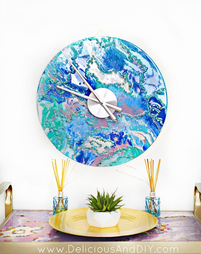All About Clocks - DIY Marbled Wall Clock by Delicious and DIY