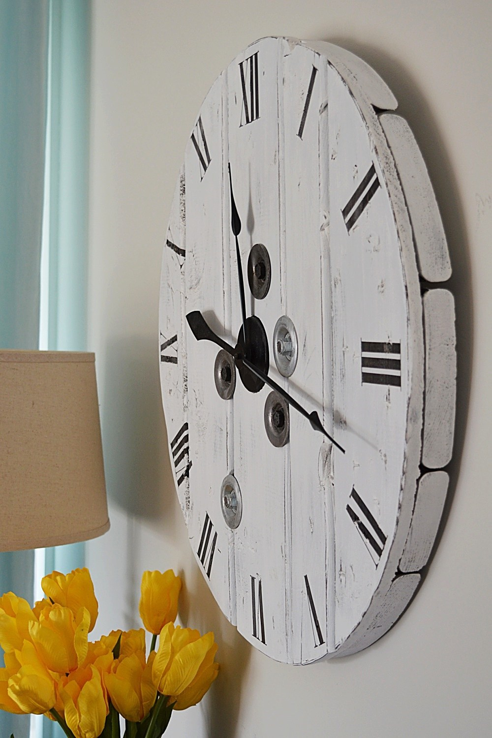 All About Clocks- How to Make a Farmhouse Clock from a Cable Reel by The Vanderveen House