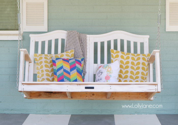 DIY Porch Swing Plans - Baby Crib to Porch Swing by Lolly Jane